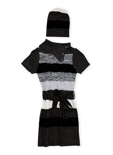 Girls 7-16 Striped Sweater Dress and Beanie Hat,BLK/CHARC,large