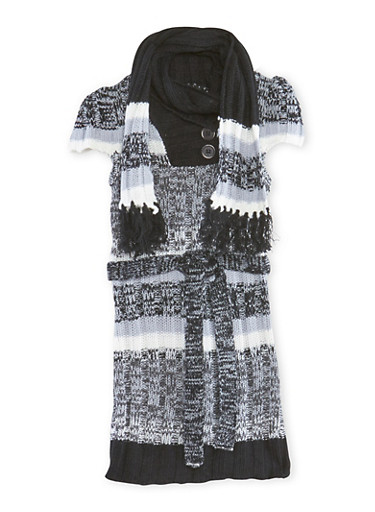 Girls 4-16 Sweater Dress with Fringe Scarf,BLK/CHARC,large