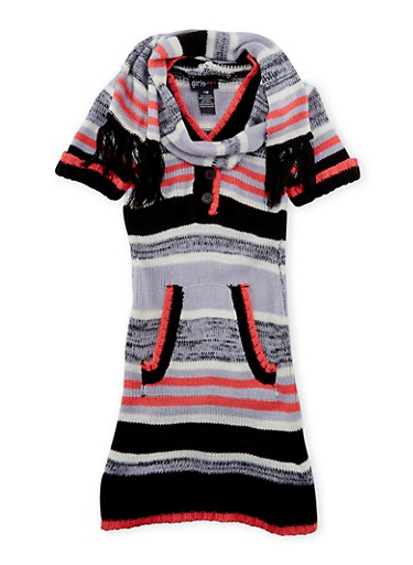 Girls 7-16 Sweater Dress with Fringe Scarf,BLK/PINK,large