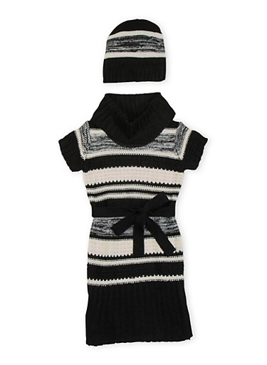 Girls 7-16 Striped Sweater Dress and Beanie Hat,BLK/SILVER,large