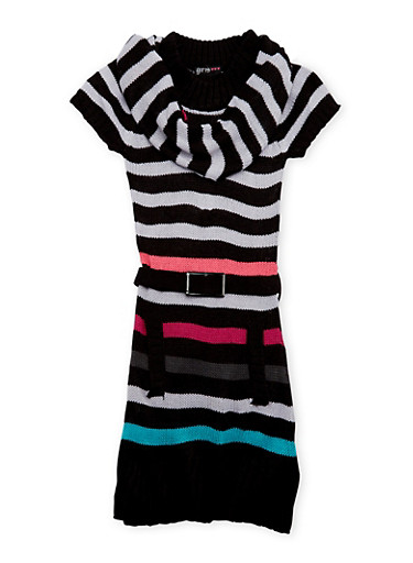 Girls 7-16 Striped Sweater Dress and Scarf,MULTI BLK,large