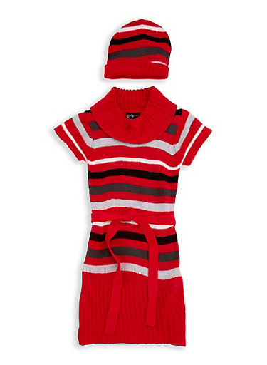 Girls 7-16 Multi Stripe Sweater Dress with Hat,BLACK/RED,large