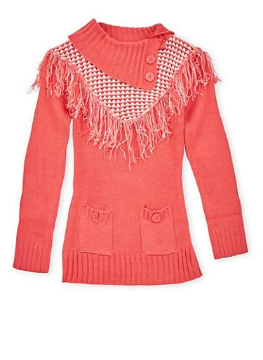Girls 7-16 Sweater with Fringed Bib Paneling,IVORY,large