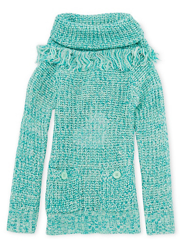 Girls 7-16 Sweater with Fringed Cowl Neck,MINT,large