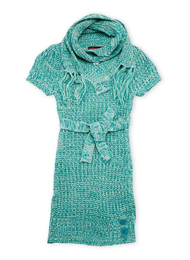 Girls 7-16 Sweater Dress with Belt and Scarf,MINT,large