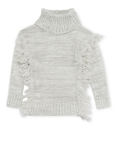 Girls 7-16 Cowl Neck Sweater with Fringe Trim,HEATHER,large