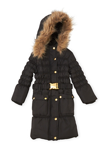 Girls 4-6x Puffer Coat with Faux Fur Trimmed Hood,BLACK,large
