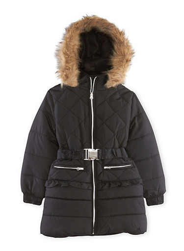 Girls 4-6x Belted Puffer Jacket with Hood,BLACK,large