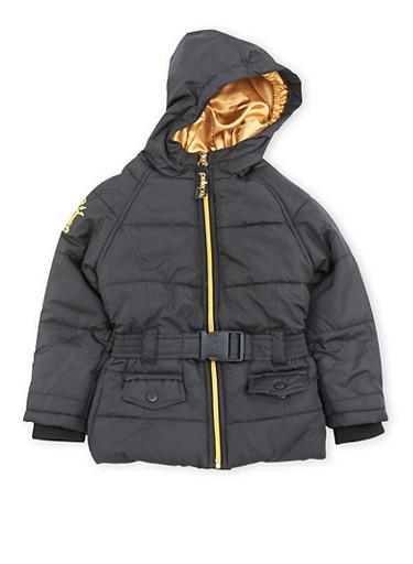 Girls 4-6x Pelle Pelle Hooded Puffer Coat with Belt,BLACK,large