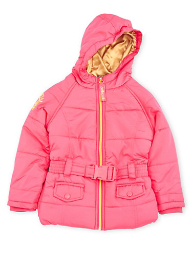 Girls 4-6x Pelle Pelle Hooded Puffer Jacket with Belt,FUCHSIA,large