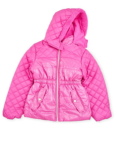 Girls 4-6x Shimmer Puffer Coat with Zip Front,NEON PINK,large