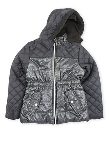 Girls 4-6x Quilted Puffer Jacket with Fleece Hood,BLACK,large