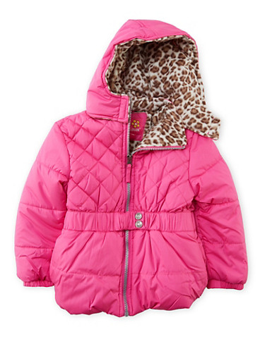 Girls 4-6x Hooded Puffer Coat with Belt,NEON PINK,large