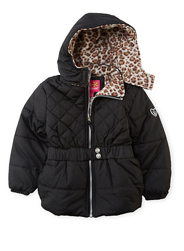 Girls 4-6x Quilted Puffer Coat with Leopard Fleece Lining,BLACK,large