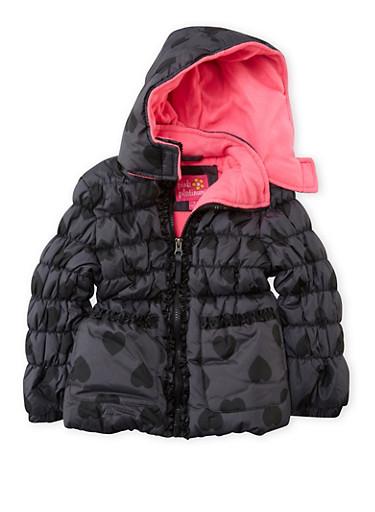 Girls 4-6x Heart Print Puffer Coat with Ruffles,BLACK,large