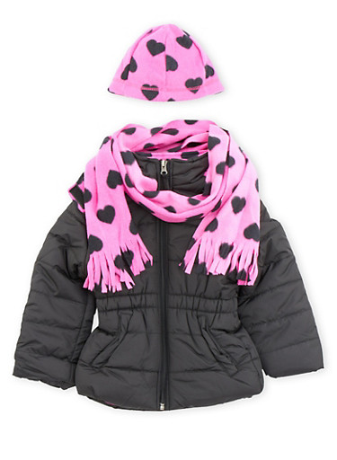 Girls 4-6x Puffer Jacket with Scarf and Beanie,BLACK,large