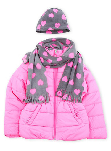 Girls 4-6x Puffer Coat with Scarf and Hat,NEON PINK,large