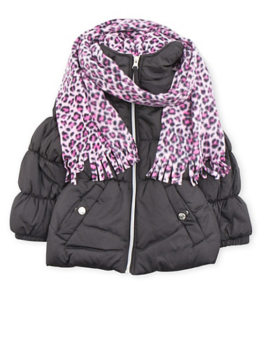 Girls 4-6x Puffer Coat with Leopard Print Hood Scarf and Beanie,BLACK,large