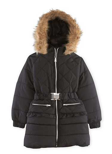 Girls 5-16 Puffer Coat with Faux Fur Trimmed Hood,BLACK,large
