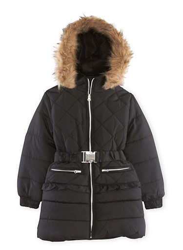 Girls 7-16 Belted Puffer Jacket with Hood,BLACK,large