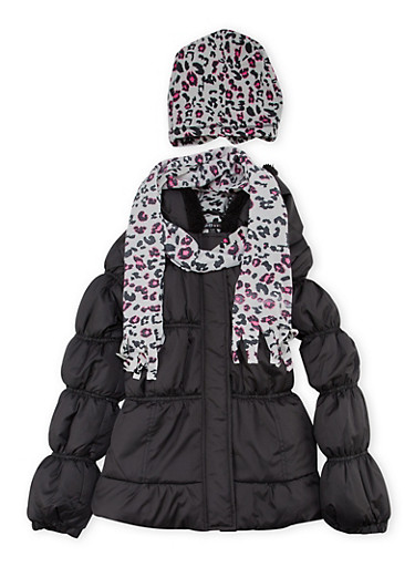 Girls 7-16 Hooded Puffer Coat with Hat and Scarf,BLACK,large