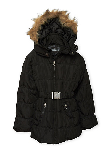 Girls 7-16 Belted Zip Puffer Jacket,BLACK,large