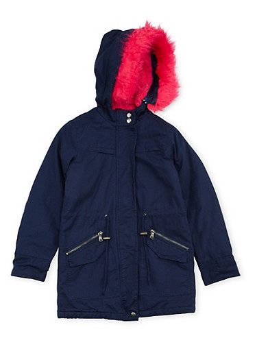 Girls 7-16 Hooded Coat with Faux Fur Trim,NAVY,large