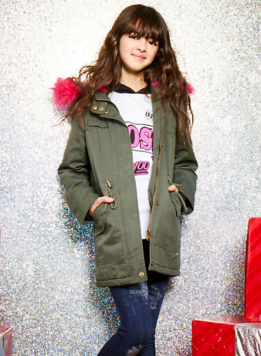 Girls 7-16 Jacket with Contrast Faux Fur Hood,OLIVE,large