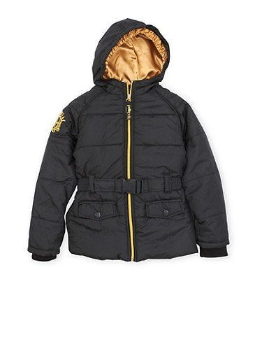 Girls 7-16 Pelle Pelle Puffer Coat with Metallic Embroidery,BLACK,large