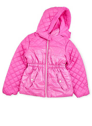 Girls 7-16 Quilted Shimmer Puffer Coat with Sherpa Hood,NEON PINK,large