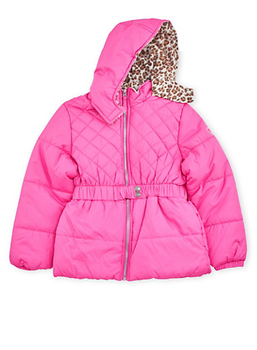 Girls 7-16 Quilted Puffer Coat with Cheetah Print Hood,NEON PINK,large