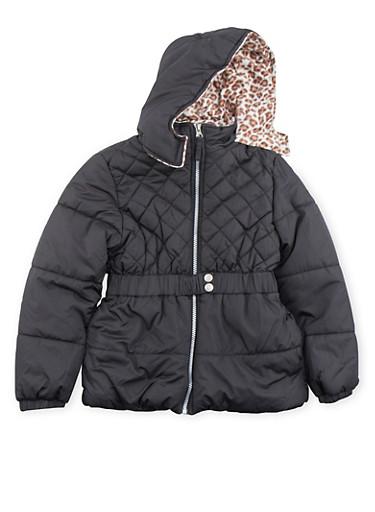 Girls 7-16 Belted Fleece Puffer Coat,BLACK,large