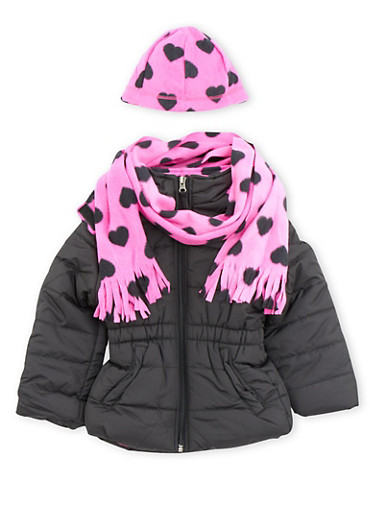 Girls 7-16 Puffer Jacket with Scarf and Beanie,BLACK,large