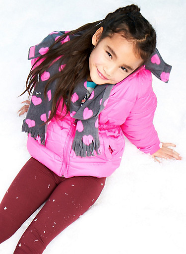 Girls 7-16 Puffer Jacket with Hat and Scarf,NEON PINK,large