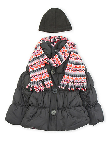 Girls 7-16 Hooded Puffer Coat with Printed Scarf,BLACK,large