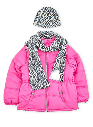 Girls 7-16 Puffer Jacket with Printed Hat and Scarf,NEON PINK,large