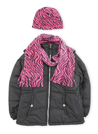 Girls 7-16 Puffer Coat with Printed Hat and Scarf,BLACK,large