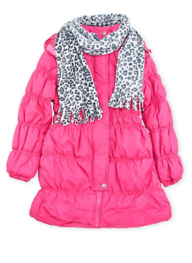 Girls 7-16 Hooded Puffer Coat with Printed Scarf,PURPLE,large