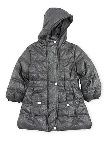 Girls 7-16 Long Shimmer Puffer Jacket,BLACK,large