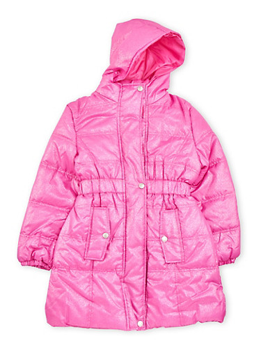 Girls 7-16 Puffer Coat with Metallic Finish,NEON PINK,large