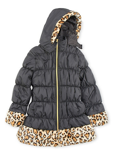 Girls 7-16 Hooded Puffer Coat with Faux Fur Trim,BLACK,large