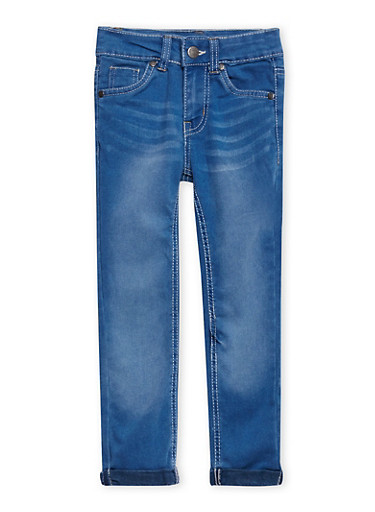 Girls 4-6x Five-Pocket Skinny Jeans with Fixed Cuffs,LIGHT WASH,large