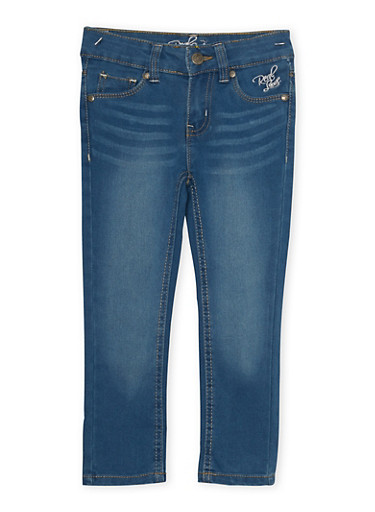 Girls 4-6x Real Love Stitched Skinny Jeans with Back Flap Pockets,MEDIUM WASH,large