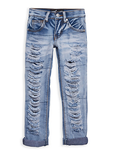 Girls 4-6x Ripped Jeans,DENIM,large