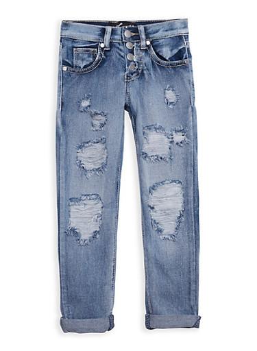 Girls 4-6x 4 Button Frayed Jeans,DENIM,large