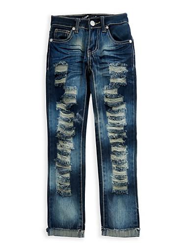 Girls 4-6x Rip and Repair Skinny Jeans,DENIM,large