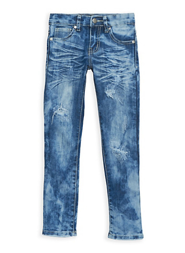 Girls 4-6x Dark Acid Wash Skinny Jeans,DENIM,large