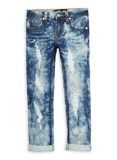 Girls 4-6x Destroyed Roll Cuff Skinny Jeans,DENIM,large