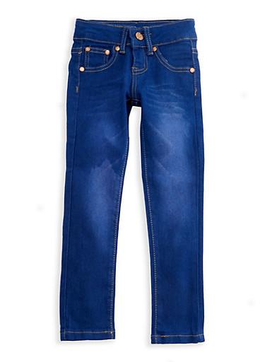Girls 4-6x Whisker Wash Denim Skinny Jeans,DENIM,large