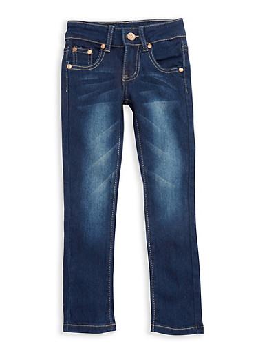 Girls 4-6x Basic Skinny Jeans with Contrast Stitching,DARK WASH,large